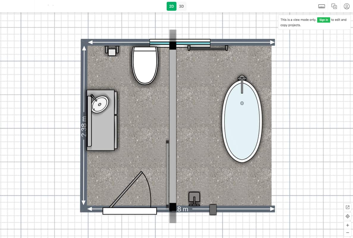 Passion Built home renovation specialist in Merrylands providing 3D Bathroom Design for small bathroom with freestanding bathtub top down view