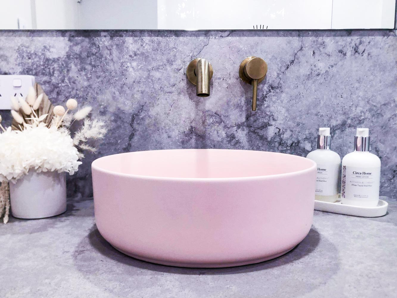Passion Built Sydney Bathroom Renovation with Pink Matte Paco Ceramic Basin from Temple Webster